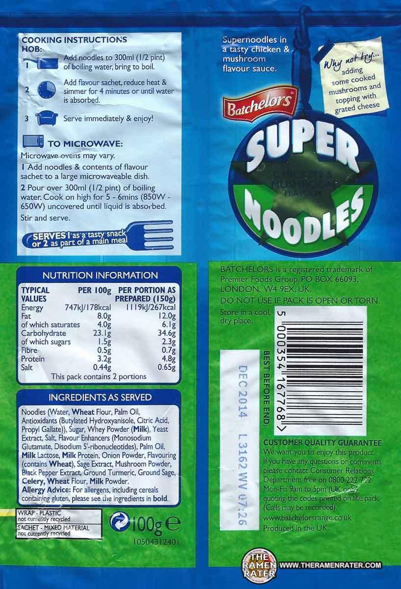 1209: Batchelors Super Noodles Chicken & Mushroom Flavour - The ...