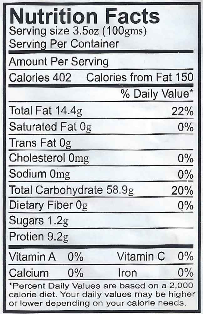 ramen noodles nutrition label