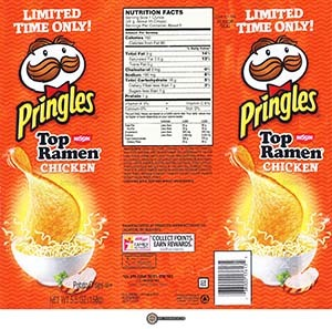 #2513: Pringles Nissin Top Ramen Chicken Flavor Potato Crisps - United States - The Ramen Rater - instant noodles ramen noodle soup potato chips