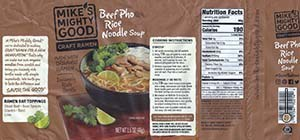 Meet The Manufacturer: #2796: Mike's Mighty Good Craft Ramen Beef Pho Flavor Rice Noodle Soup